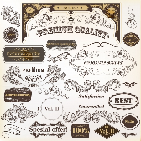 bricklayer: Vector set of calligraphic elements for design. Calligraphic vector