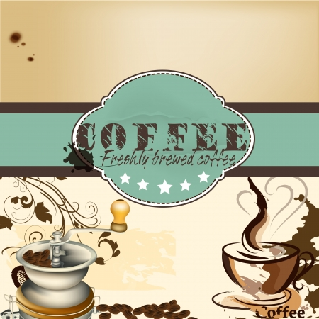 Cute design of vector coffee shop or cafe poster in vintage style Vector
