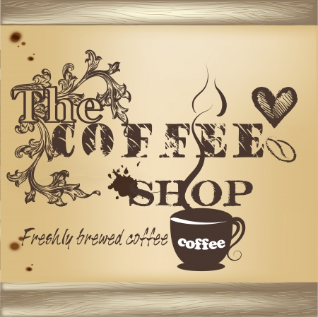 vintage cafe: Cute design of vector coffee shop or cafe poster in vintage style