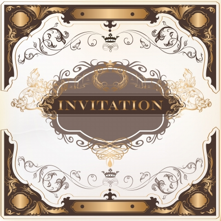 Elegant classic wedding invitation or menu. Retro vector Stock Vector - 20407042