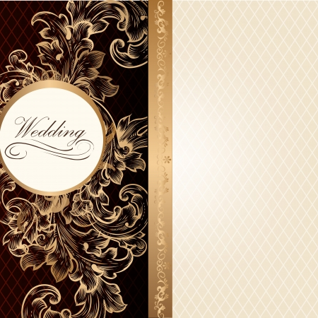 Elegant classic wedding invitation or menu. Retro vector Vector