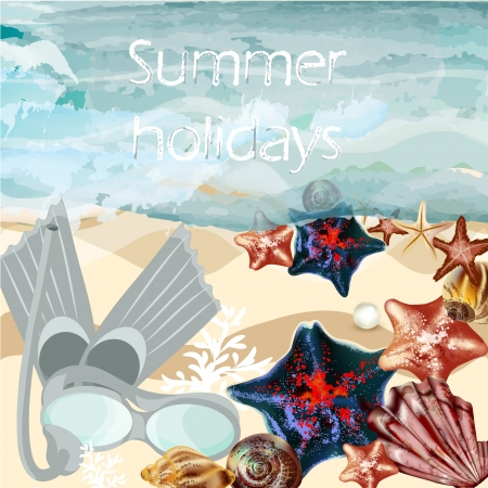 Vector background with detailed shells on a sand  and swimming mask for summer design Vector