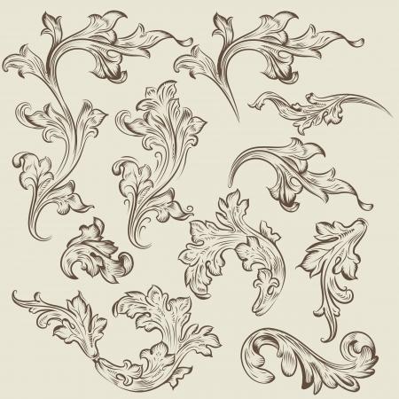 filler: Vector conjunto de remolino adornos de �poca para el dise�o