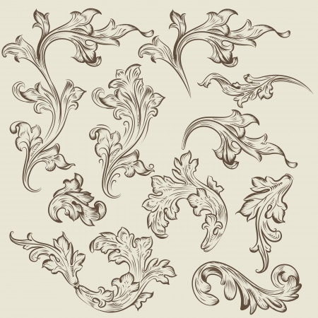 bricklaying: Vector set of swirl vintage ornaments for design