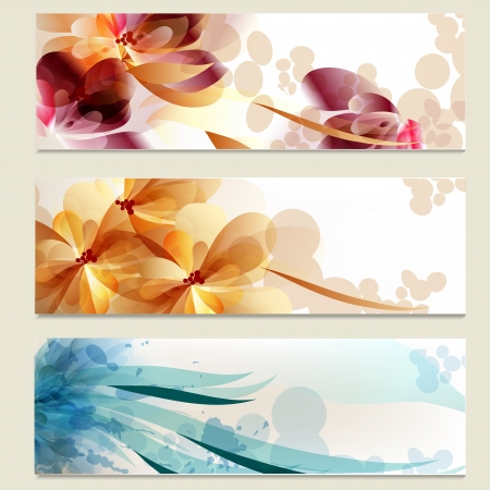 Vector set of business cards in floral style for design
