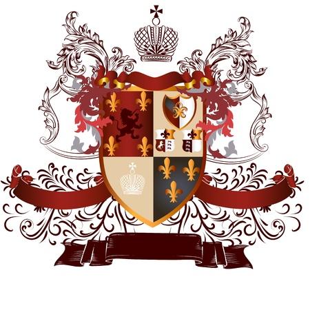 nobel: Vector her�ldico ilustraci�n de estilo vintage con escudo, armadura, corona y ornamento remolino de dise�o