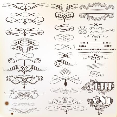 Vector set di elementi calligrafici di disegno calligrafico vettore Archivio Fotografico - 20458792