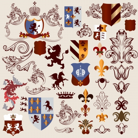 crown king: Vector set of luxury royal vintage elements for your heraldic design