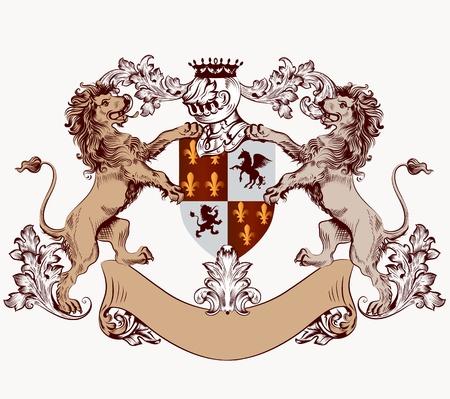 Vector heraldische illustratie in vintage stijl met schild, harnas, kroon en leeuwen voor design