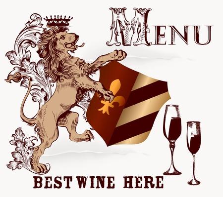 nobel: Menu design in heraldic style with hand drawn lion  Illustration