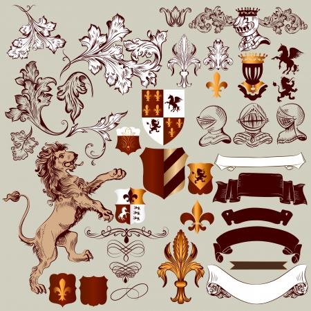 гребень: Векторный набор роскошных королевских винтажных элементов для вашего дизайна геральдические Иллюстрация