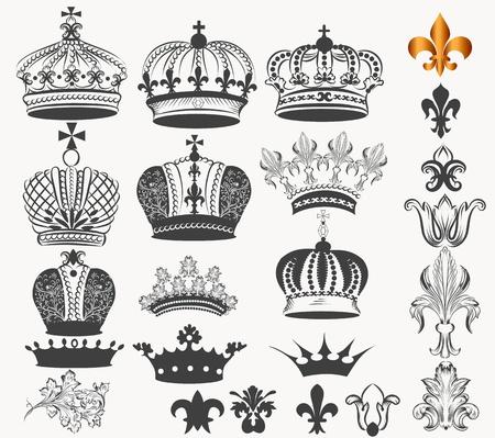 corona real: Conjunto de vectores de coronas para el diseño heráldico