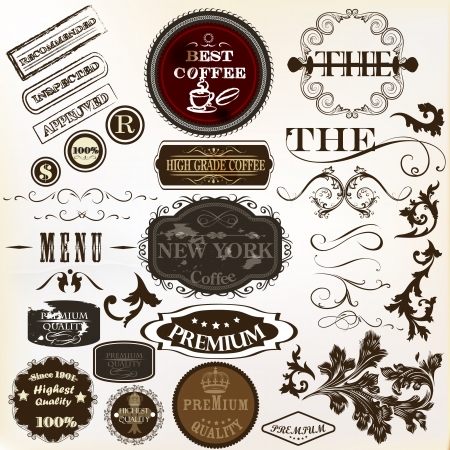 retro type: Collection of vector labels in retro style premium quality  for design