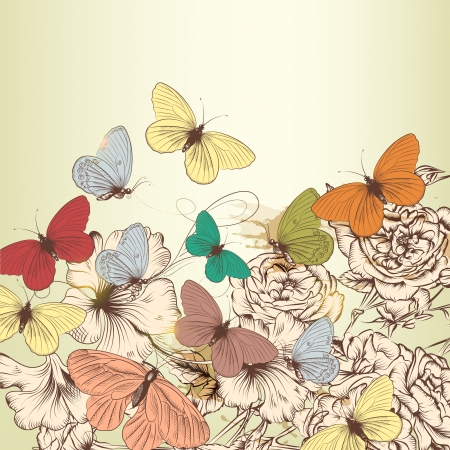 hand drawn rose: Elegant vector background with pastel butterflies and hand drawn roses