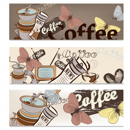 Coffee  vector brochures set with hand drawn cups, grains and TV for design Stock Vector - 20743643