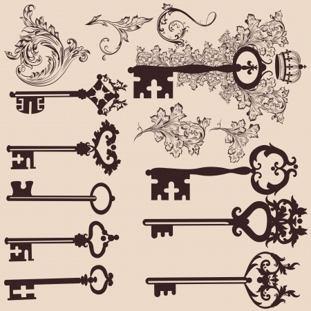 Vector set of filigree keys  for design. Calligraphic vector Vector