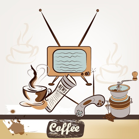 Cute design of vector coffee poster in vintage style Stock Vector - 20746527
