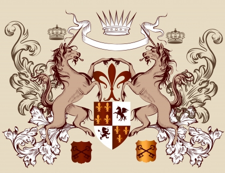 Vector heraldic illustration in vintage style with shield, armor, crown and horses for design Vector