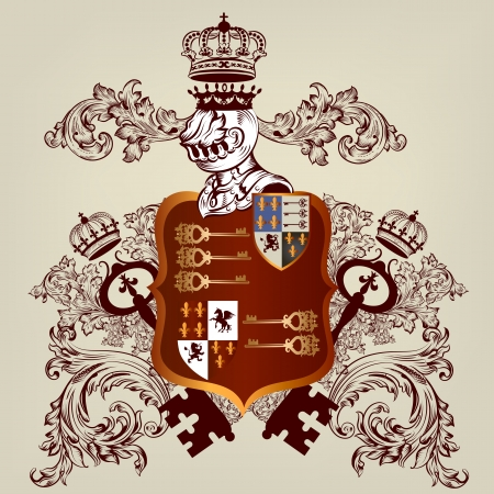 Vector heraldic illustration in vintage style with shield, armor, crown and ornament for design Vector