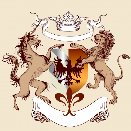 Vector heraldic illustration in vintage style with shield, armor, lion and horse for design Vector