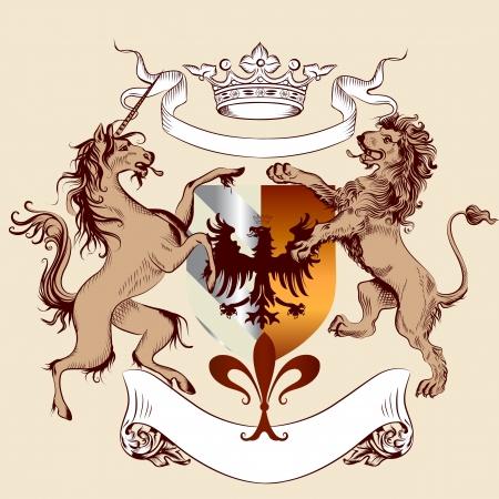 Vector heraldische illustratie in vintage stijl met schild, pantser, leeuw en paard voor het ontwerp