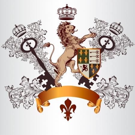 chevalerie: Vecteur h�raldique illustration dans le style vintage avec bouclier, armure et le lion tenant la touche pour la conception