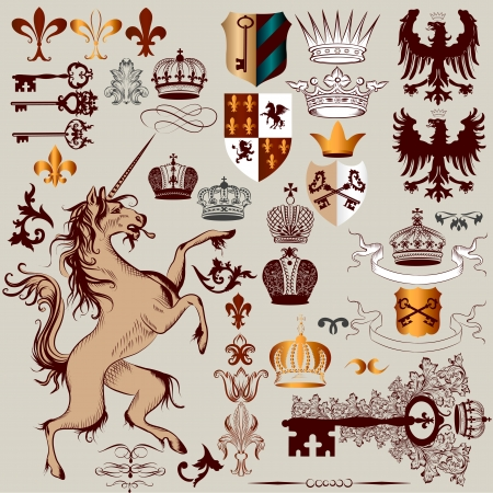 eagle shield and laurel wreath: Vector set of luxury royal vintage elements for your heraldic design