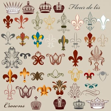豪華なロイヤル ヴィンテージの要素、紋章の設計のためのベクトルを設定  イラスト・ベクター素材