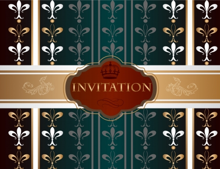 ornamental scroll: Elegant classic wedding invitation or menu. Retro vector Illustration