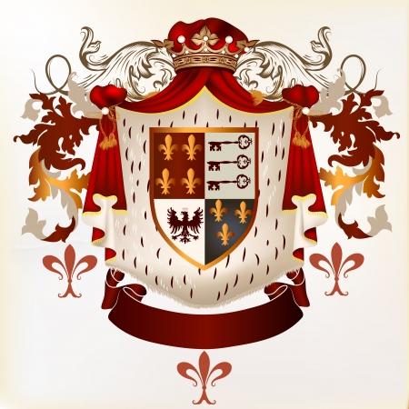 nobel: Vector her?ldico ilustraci?n de estilo vintage con escudo, armadura, corona y ornamento remolino de dise?o