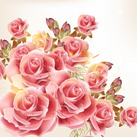 ビンテージ スタイル デザインのかわいいピンクのバラ  イラスト・ベクター素材