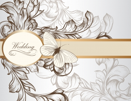place card: hand drawn  wedding invitation design in classic floral style  Illustration