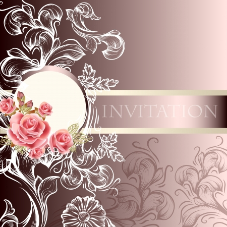 hand drawn  wedding invitation design in floral style  Illustration