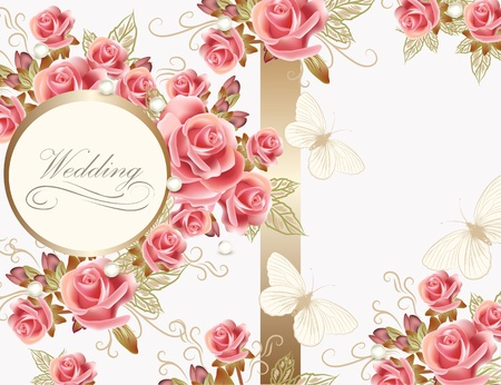 Wedding greeting card with pink roses in vintage style for design