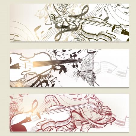 violines: Conjunto de vectores de fondo la m�sica de violines, ornamento y notas
