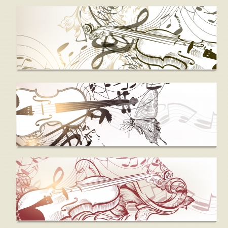 violins: Vector set of  music background with violins, ornament and notes