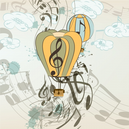Cute conceptual music background with balloons and notes for your design Vector