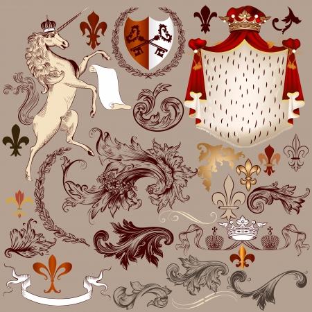 Vector Reihe von Luxus-royal Vintage-Elemente f?r Ihre heraldischen Design Standard-Bild - 21401861