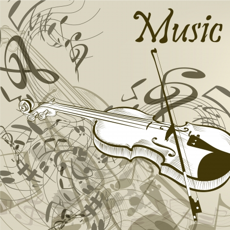 Elegant vector music background with  violin and notes Stock Vector - 21401863