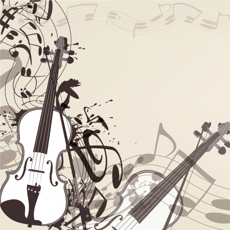 Elegant vector music background with  violin and notes Vector