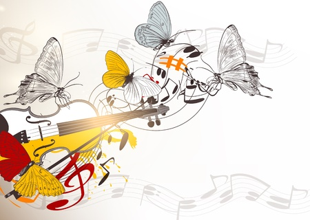 Vector music background with colorful violin, notes and butterflies Vector