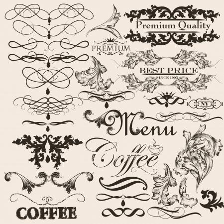 calligraphic design: Vector set of calligraphic elements for design  Calligraphic vector