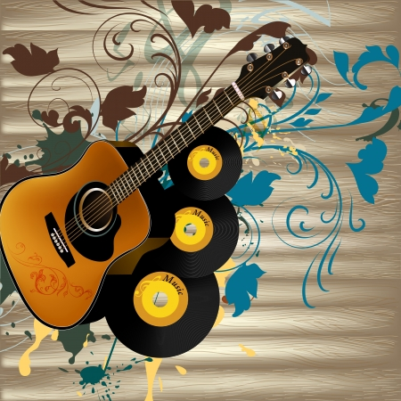 Vector background with detailed guitar and ornament for design Stock Vector - 21401898