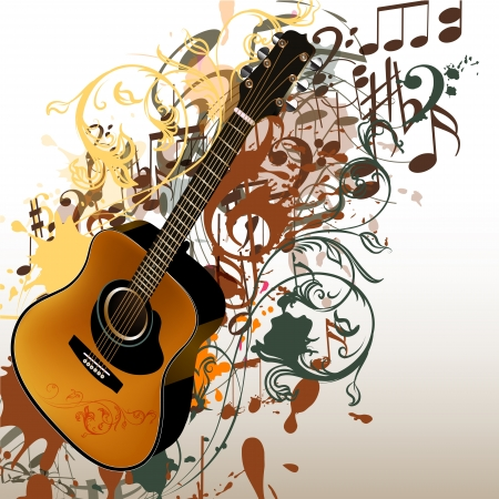 Vector background with detailed guitar, notes and ornament for design Stock Vector - 21401899