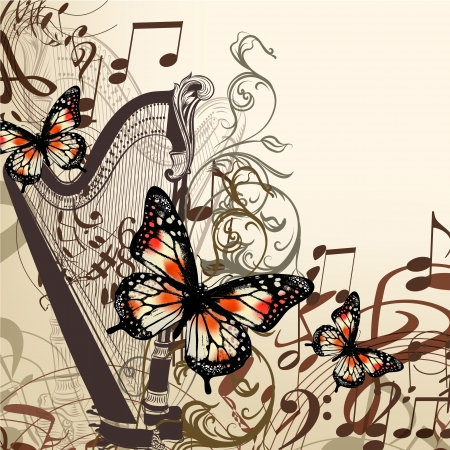 harp: Vector background with harp, ornament and butterflies for design Illustration