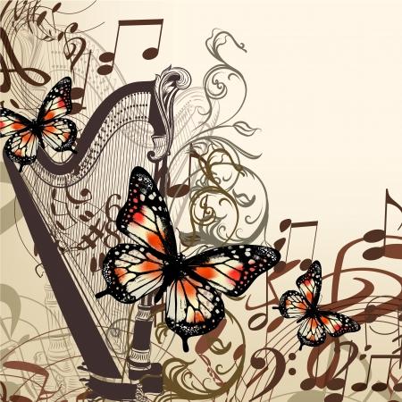 arpa: Vector de fondo con arpa, ornamento y mariposas para el diseño