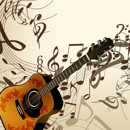 Vector background with detailed guitar and notes for design Stock Vector - 21401905