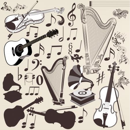 musica clasica: Conjunto de vectores de siluetas de instrumentos musicales en el estilo retro