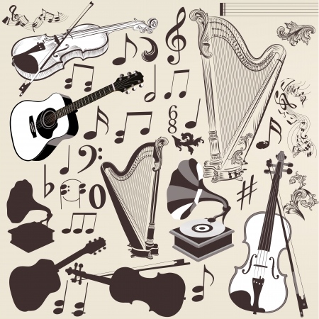 classical music: Vector set of detailed  silhouettes of musical instruments in retro style
