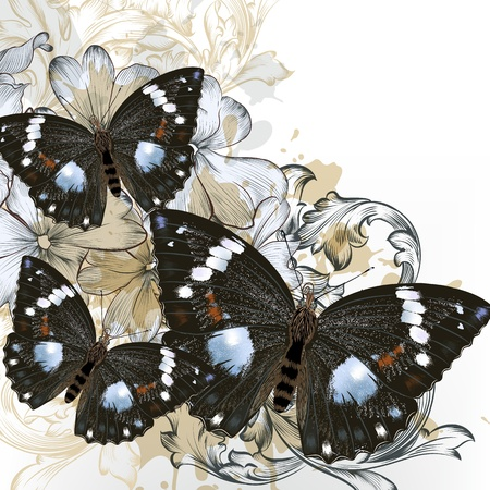 Vector  fashion illustration with butterflies  in vintage style for design Stock Vector - 21401927